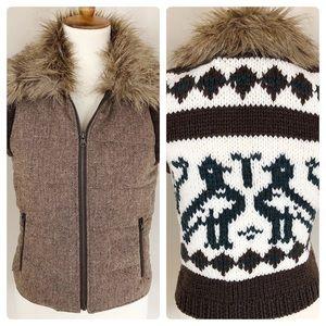 BB Dakota Knit Bird Vest with Faux Fur